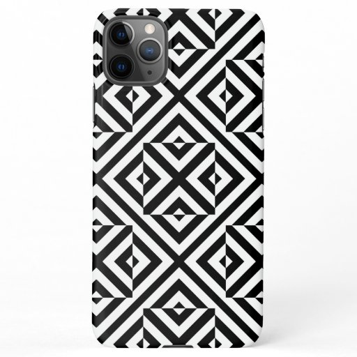 Black and White Striped Op Art Geometric Pattern iPhone 11Pro Max Case