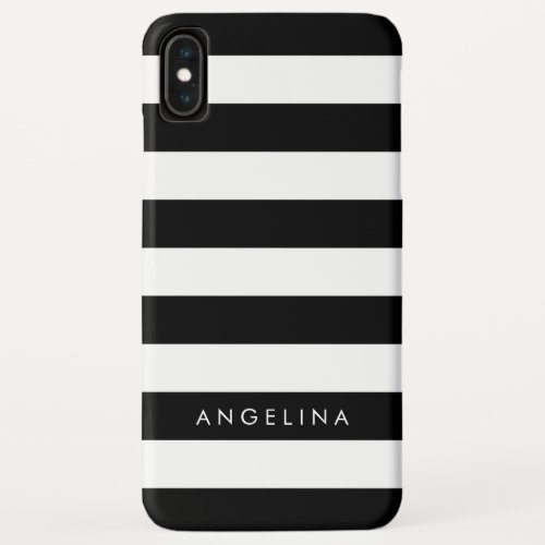 Black and White Striped Pattern and Custom Name Phone Case
