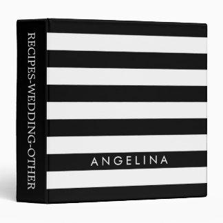 Black and White Striped Pattern Custom Name Binder