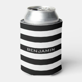 Black and White Striped Pattern Custom Name Can Cooler