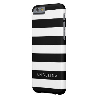 Black and White Striped Pattern Custom Name Barely There iPhone 6 Case