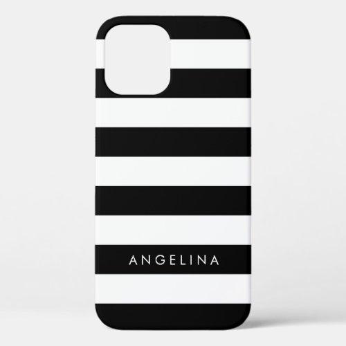 Black and White Striped Pattern Custom Name Phone Case