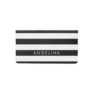 Black and White Striped Pattern Custom Name Checkbook Cover