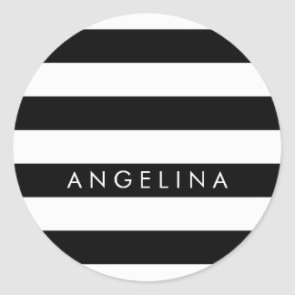 Black and White Striped Pattern Custom Name Classic Round Sticker