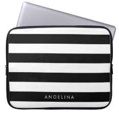Black And White Striped Pattern Custom Name Computer Sleeve at Zazzle