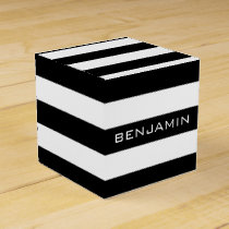 Black and White Striped Pattern Custom Name Favor Box