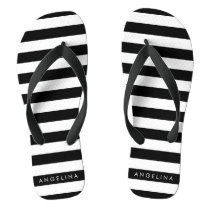 Black and White Striped Pattern Custom Name Flip Flops