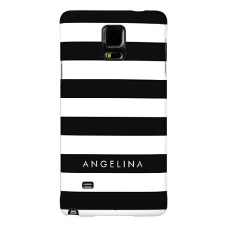 Black and White Striped Pattern Custom Name Galaxy Note 4 Case