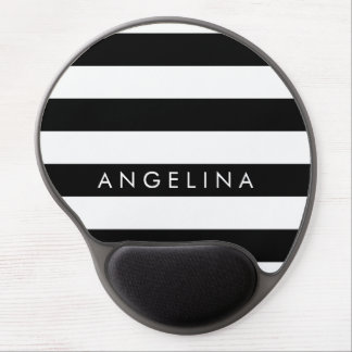 Black and White Striped Pattern Custom Name Gel Mouse Pad
