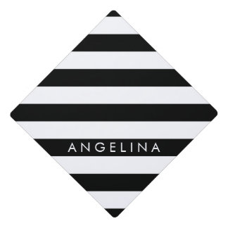 Black and White Striped Pattern Custom Name Graduation Cap Topper