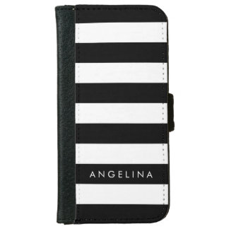 Black and White Striped Pattern Custom Name iPhone 6/6s Wallet Case