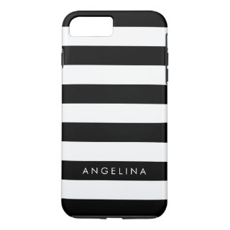 Black and White Striped Pattern Custom Name iPhone 8 Plus/7 Plus Case