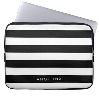 Black and White Striped Pattern Custom Name Laptop Sleeve