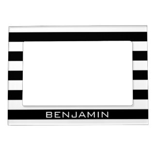 Black and White Striped Pattern Custom Name Magnetic Picture Frame