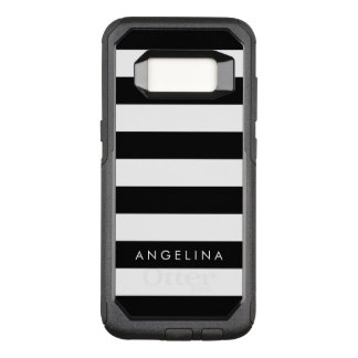 Black and White Striped Pattern Custom Name OtterBox Commuter Samsung Galaxy S8 Case
