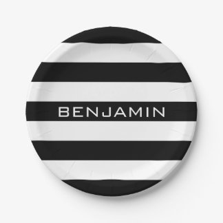Black and White Striped Pattern Custom Name Paper Plate