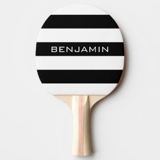 Black and White Striped Pattern Custom Name Ping Pong Paddle