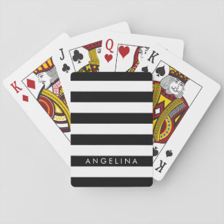 Black and White Striped Pattern Custom Name Playing Cards