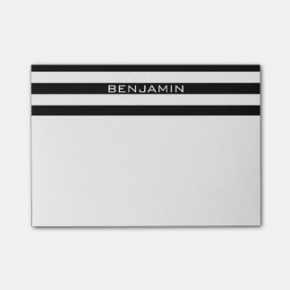 Black and White Striped Pattern Custom Name Post-it Notes