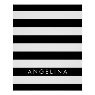 Black and White Striped Pattern Custom Name Poster