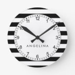 Black and White Striped Pattern Custom Name Round Clock