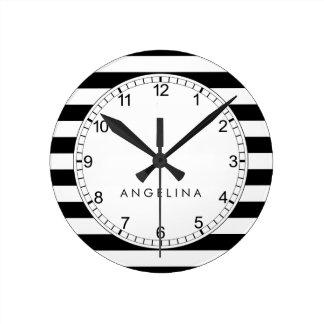 Black and White Striped Pattern Custom Name Round Clock