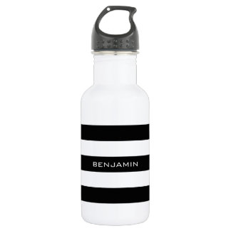 Black and White Striped Pattern Custom Name Stainless Steel Water Bottle