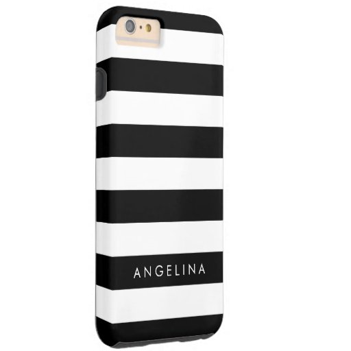iphone 6 plus custom black and white striped pattern custom name tough iphone 6 6121