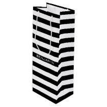 Black and White Striped Pattern Custom Name Wine Gift Bag