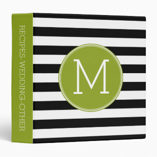 Black and White Striped Pattern Green Monogram 3 Ring Binder