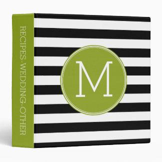 Black and White Striped Pattern Green Monogram 3 Ring Binder