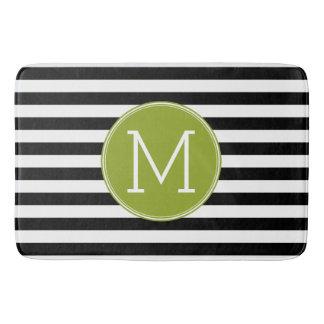 Black and White Striped Pattern Green Monogram Bathroom Mat