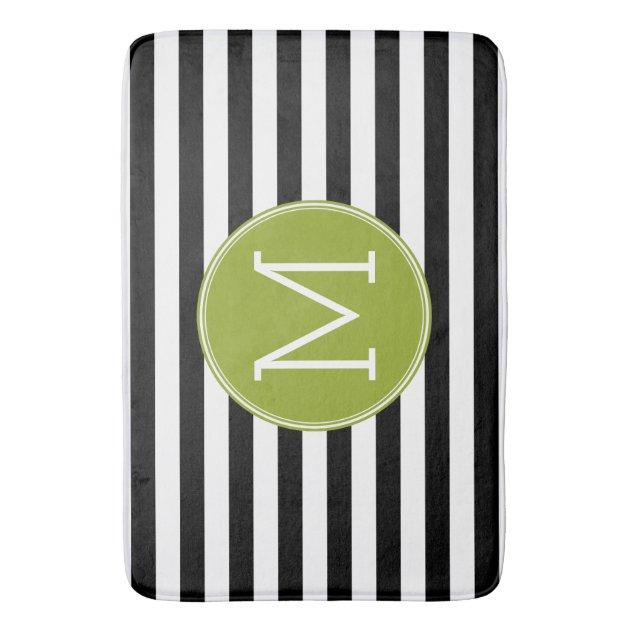 Black And White Striped Pattern Green Monogram Bathroom