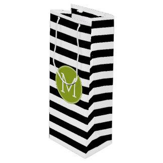 Black and White Striped Pattern Green Monogram Wine Gift Bag