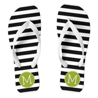 Black and White Striped Pattern Green Monogram Flip Flops