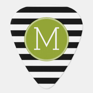 Black and White Striped Pattern Green Monogram Guitar Pick
