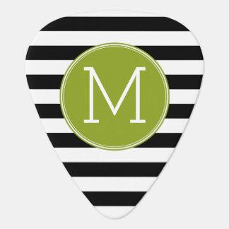 Black and White Striped Pattern Green Monogram Guitar Pick