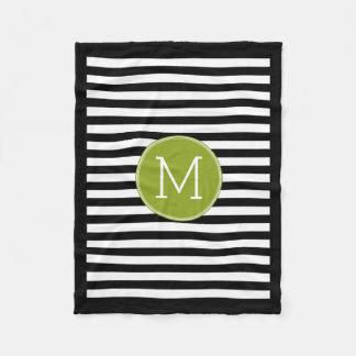 Black and White Striped Pattern Green Monogram Fleece Blanket