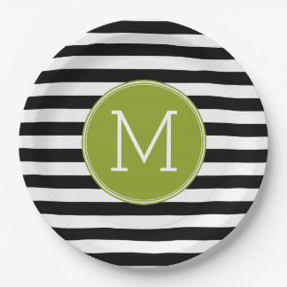 Black and White Striped Pattern Green Monogram Paper Plate