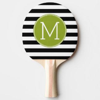 Black and White Striped Pattern Green Monogram Ping Pong Paddle