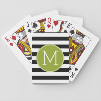 Black and White Striped Pattern Green Monogram Playing Cards