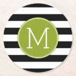"Black and White Striped Pattern Green Monogram Round Paper Coaster<br><div class=""desc"">A simple design with an area for monograms. If you need to adjust the artwork or change the font,  you can click on the customize area. This will take you to the design tool where you can make many changes.</div>"