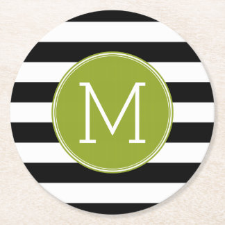 Black and White Striped Pattern Green Monogram Round Paper Coaster