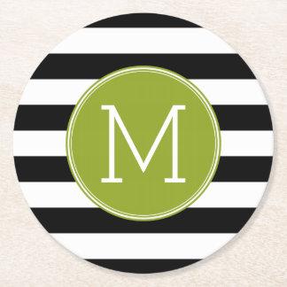 Black and White Striped Pattern Green Monogram Round Paper Coaster