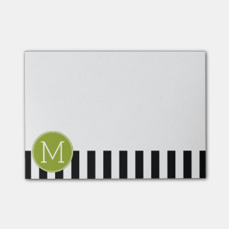 Black and White Striped Pattern Green Monogram Post-it® Notes