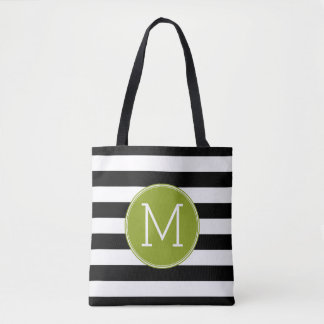 Black and White Striped Pattern Green Monogram Tote Bag