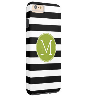 Black and White Striped Pattern Green Monogram Tough iPhone 6 Plus Case