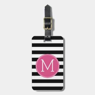 Black and White Striped Pattern Hot Pink Monogram Bag Tag