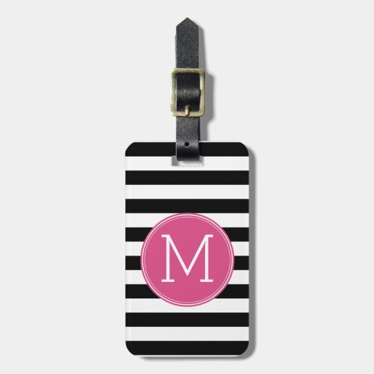 Black And White Striped Pattern Hot Pink Monogram Bag Tag