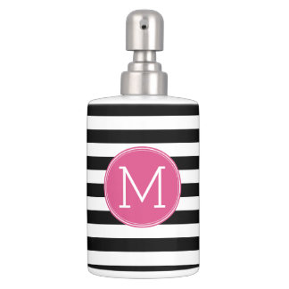 Pink And Grey Bathroom Accessories. Black and White Striped Pattern Hot Pink Monogram Bathroom Set Stripes Bath Accessory Sets  Zazzle